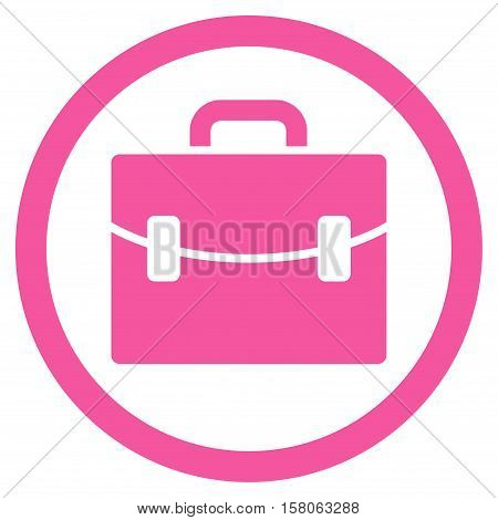Case vector rounded icon. Image style is a flat icon symbol inside a circle, pink color, white background.