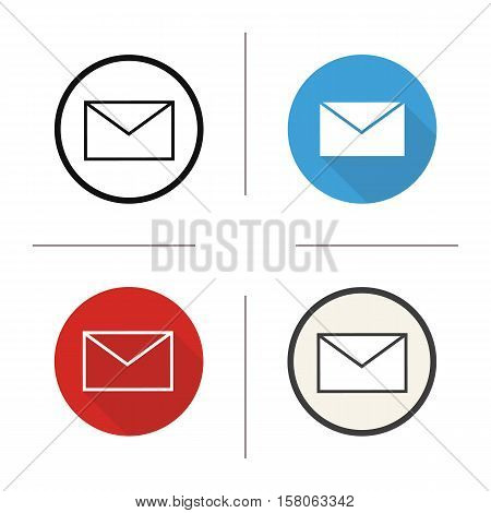 Email icon. Flat design, linear and color styles. Sms message. Envelope. Letter isolated vector illustrations