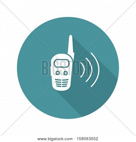 Walkie talkie flat design long shadow icon. Radio transceiver. Vector silhouette symbol
