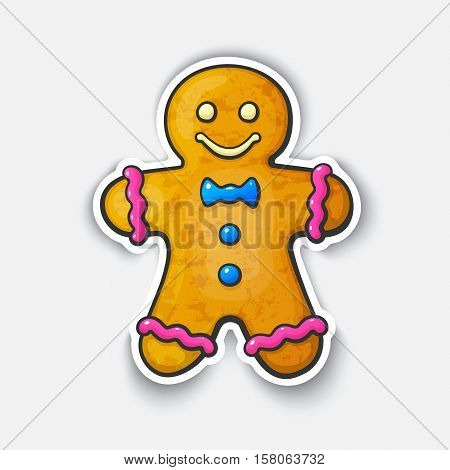 Vector illustration. Cookies Gingerbread man. Cartoon funny sticker in comic style with contour. Decorative stickers for your greeting cards, posters, patches and prints for clothes, flyers, emblems