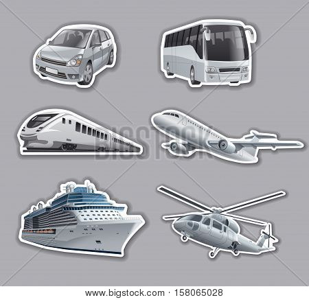 illustration of stickers of transport car train bus cruise ship airplane and helicopter