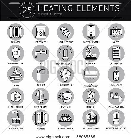 Vector thin line icon of heating. Linear pictogram with editable strokes for heating system. Elements - radiator boiler thermostat manometer burner pipes plumbing valve and heater.