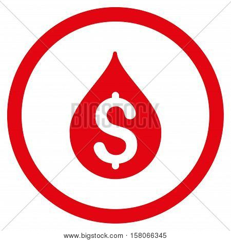 Money Drop vector rounded icon. Image style is a flat icon symbol inside a circle, red color, white background.