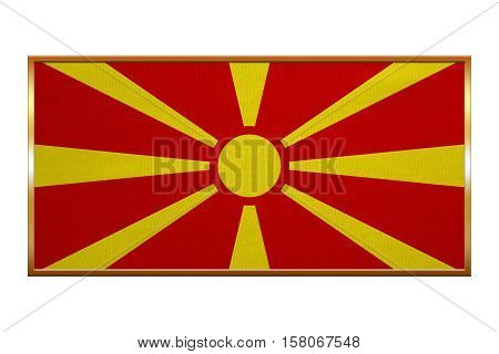 Macedonian national official flag. Patriotic symbol banner element background. Correct colors. Flag of Macedonia golden frame fabric texture illustration. Accurate size colors