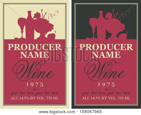 wine label with the silhouette of a still life from bottles and bowl of fruit
