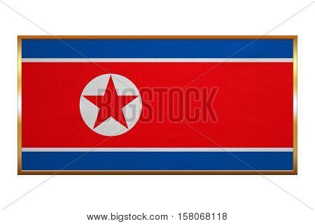 North Korean national official flag. Patriotic DPRK symbol banner element background. Correct colors. Flag of North Korea golden frame fabric texture illustration. Accurate size colors