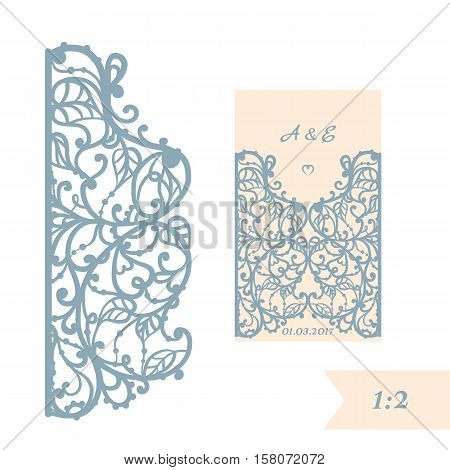 Wedding invitation or greeting card with abstract ornament. Vector envelope template for laser cutting. Paper cut card with silhouette. Cutout silhouette panel. Cutting file.