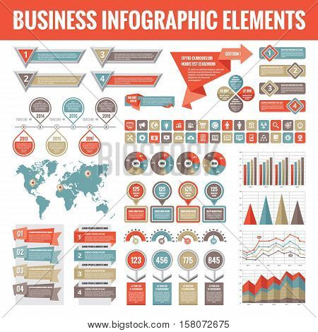 Big set of business infographic elements for presentation, brochure, web site and other projects. Abstract infographics templates in flat style design. Vector concept illustration and icons.