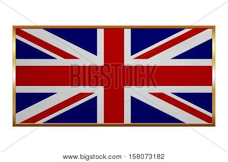 British national official flag. Patriotic UK symbol. Union Jack. Great Britain banner element background. Flag of the United Kingdom golden frame fabric texture illustration. Accurate size color