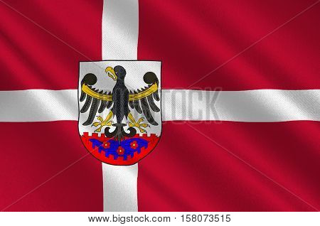 Flag of Roskilde is a municipality in Denmark in Zealand Region. 3d illustration