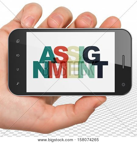 Law concept: Hand Holding Smartphone with Painted multicolor text Assignment on display, 3D rendering