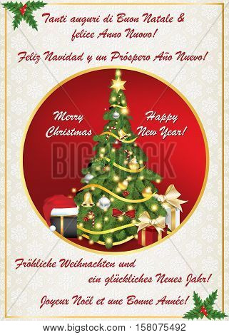Multi-language classic New Year greeting card. Merry Christmas and Happy New Year! - Italian, Spanish, English, German and French language. Print colors used. Size 5''7