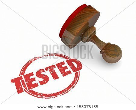 Tested Evaluation Stamp Inspected Passed Approved 3d Illustration