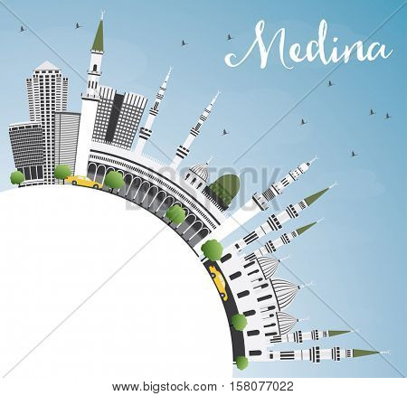 Medina Skyline with Gray Buildings, Blue Sky and Copy Space. Business Travel and Tourism Concept with Historic Architecture. Image for Presentation Banner Placard and Web Site.
