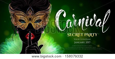 Vector Illustration. A mysterious lady in golden venetian mask put a finger on lips in a hush gesture. Beautiful concept design with hand drawn lettering