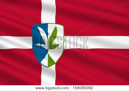 Flag of Vordingborg is a municipality in Denmark in Zealand Region. 3d illustration