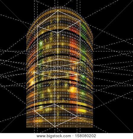 Futuristic skyscrapers with abstract binary code and geometry objects