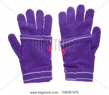 Knitted Gloves. Gloves Isolated On White Background. Gloves A Top View.purple Gloves