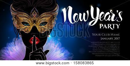 Vector Illustration. A mysterious lady in golden carnival mask put a finger on lips in a hush gesture. Beautiful concept design with hand drawn New Year lettering for greeting card, party invitation, banner or flyer.