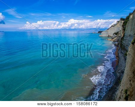 Peroulades cliffs on western part of Corfu Greek island