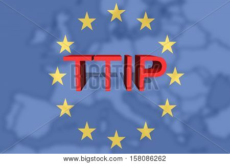 Ttip - Transatlantic Trade And Investment Partnership On Euro Union Background