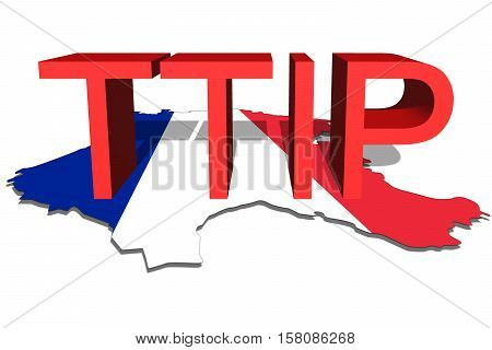 Ttip - Transatlantic Trade And Investment Partnership On France Map Background