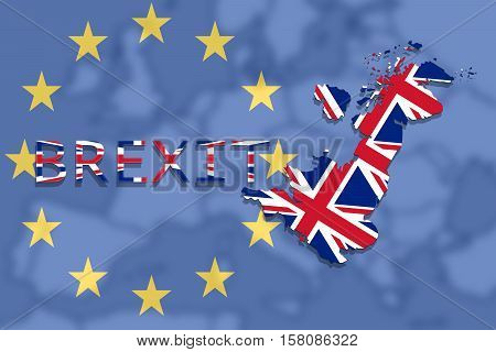 United Kingdom Map With Brexit On Euro Union  Background