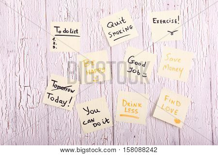 Cards With Words 'find Love', 'today', 'be Happy', 'good Job', Save Money', 'drink Less', 'you Can D