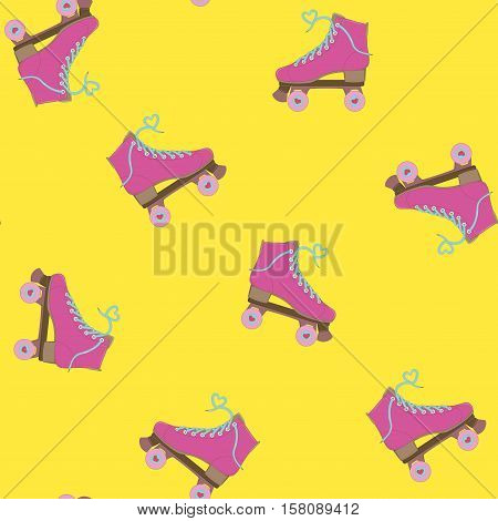 Rollers. Seamless background. Vector illustration. Image rolls. Roller Skates. Summer time. Background with rollers.