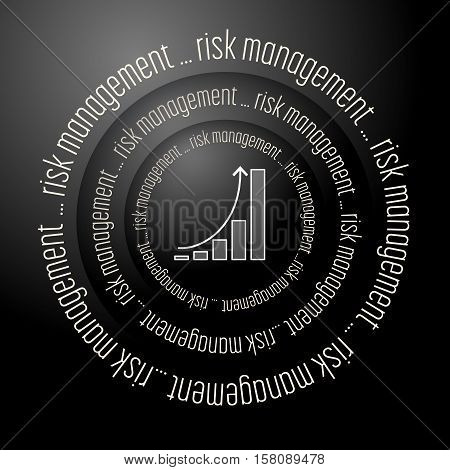 Black vector abstract background with the words risk management and diagram