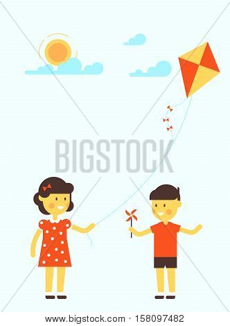 Ittle Girl And Boy With Kite.