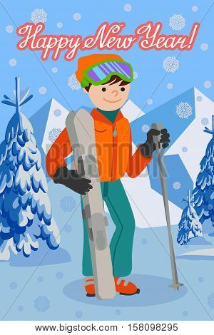 Flat design vector illustration of young man from the mountain by ski equipped. Congratulation card new year with lettering.