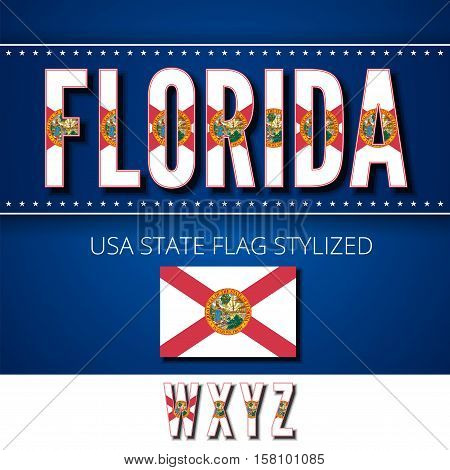 Florida USA state flag font. Alphabet characters stylized by state flag. Vector typeset part 6, letters w-z