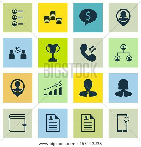 Set Of Hr Icons On Curriculum Vitae, Tournament And Business Deal Topics. Editable Vector Illustrati
