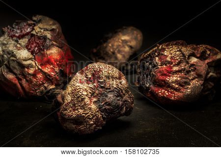 Dehydrated raw dead beets sitting on a table
