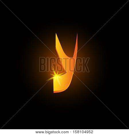 Golden arabic style letter y. Shiny latin alphabet element icon on black background. Oriental calligraphy design. Fiery decorative vector illustration