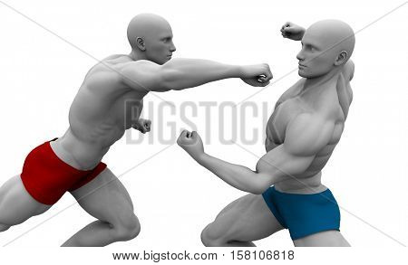 Martial Arts Combat with Two Fighting Men in a Gym 3d Illustration Render