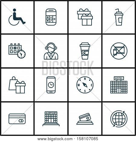 Set Of Airport Icons On Operator, Plastic Card And Takeaway Coffee Topics. Editable Vector Illustrat