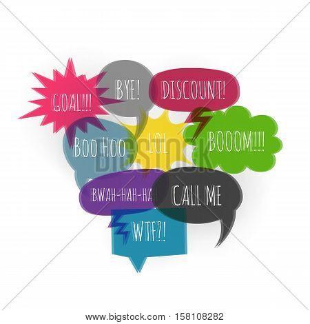 Set color text speech bubble icons glitch style white background. Banner text design vsh effect, glitch, noise people presentation communication, web banner. Vector illustration text cloud glitch.