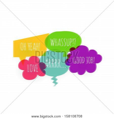 Set text colorful speech bubble icons glitch style white background. Banner text design vsh effect, glitch, noise people presentation communication, web banner. Vector illustration text cloud glitch.