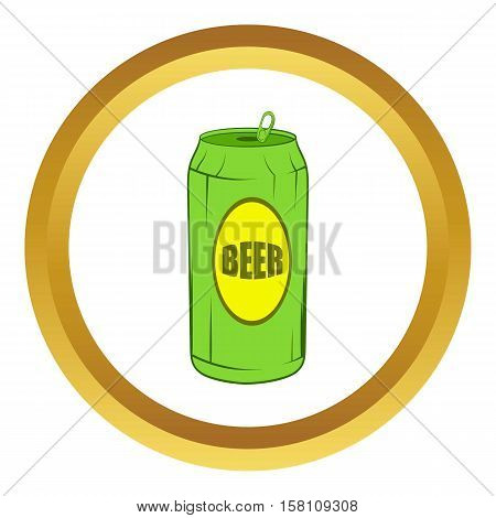 Green beer can vector icon in golden circle, cartoon style isolated on white background