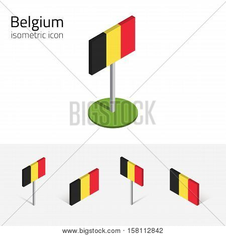 Belgium flag, vector set of isometric flat icons, 3D style, different views. 100% editable design elements for banner, website, presentation, infographic, poster, card, collage. Eps 10