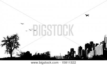 City with nature. This illustration is also available as vector.