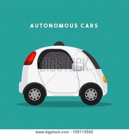 autonomous car vehicle over green background. ecology,  smart and techonology concept. vector illustration