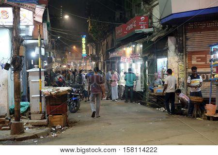 KOLKATA, INDIA - FEBRUARY 09: Night time shopping near New Market in Kolkata, India on February 09, 2016.