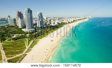 South Beach, Miami Beach. Florida. Aerial view. Paradise. South Pointe Park and Pier