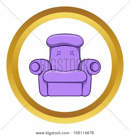Easy armchair vector icon in golden circle, cartoon style isolated on white background
