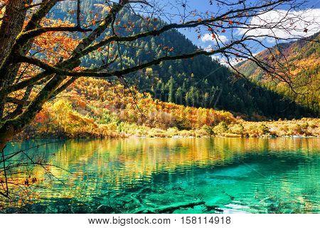 Azure Water Of Lake Among Fall Woods, The Shuzheng Valley