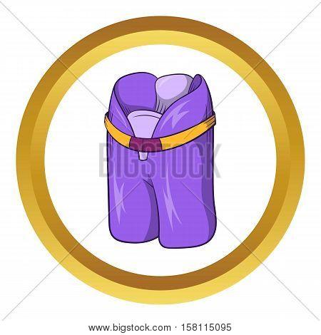 Hockey shorts, ammunition hockey vector icon in golden circle, cartoon style isolated on white background
