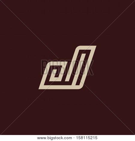 Isolated geometric vector white color alphabet letter j. Monogram symbol on the dark background. Unusual typography element. Vector illustration